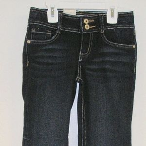 GIRLS L.e.i. NAVY JEANS, FLARE, SIZE 6X, NWT